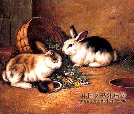 动物油画之兔--逸品油画艺术网