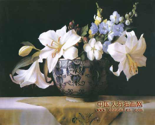 古典花卉油画百合系列--逸品油画艺术网