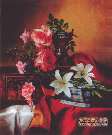 中式家庭客厅油画_客厅花卉油画