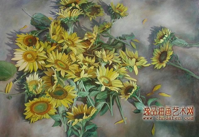 手绘向日葵装饰画 向日葵油画 梵高向日葵 花卉油画 逸品油画艺术网