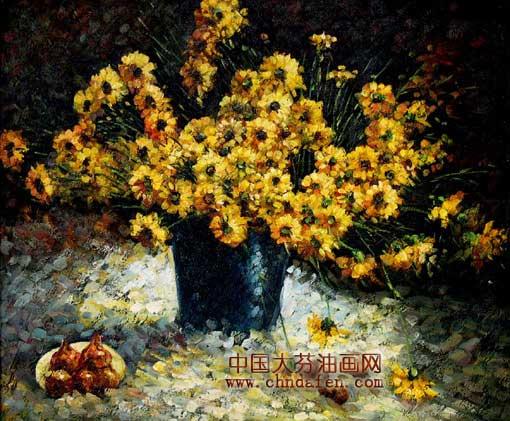 印象花卉;; 大芬纯手绘油画《印象花卉》; 梵高向日葵画图片大全下载