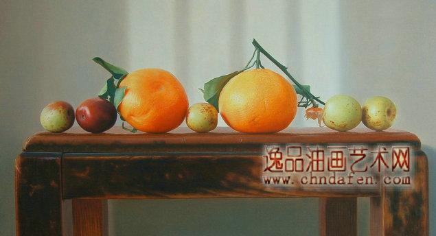 餐厅水果装饰画 油画静物水果 水果油画 静物油画 逸品油画艺术网
