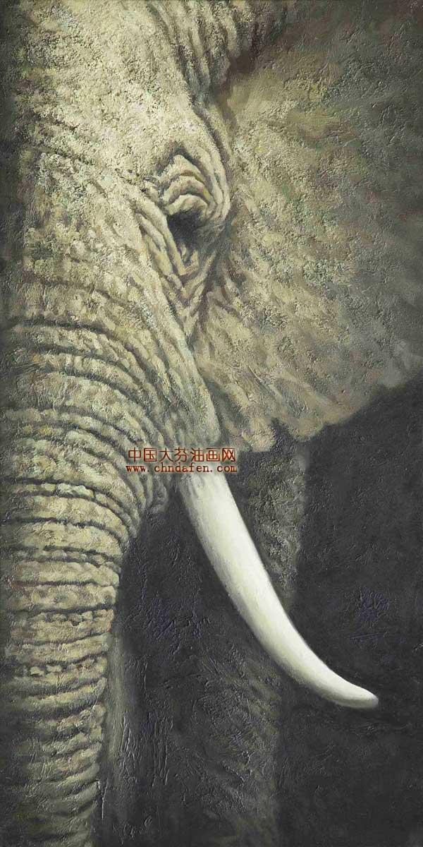 非洲大象油画|大象|动物装饰画--中国大芬油画网