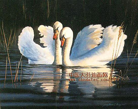 天鹅会所装饰画|天鹅|动物装饰画--逸品油画艺术网
