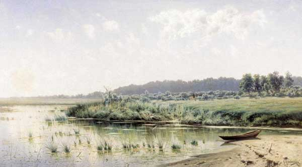 俄罗斯风景油画之河边