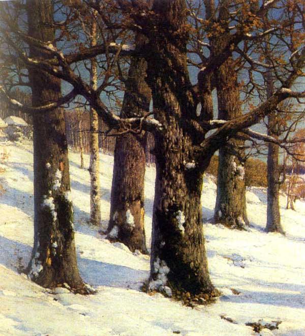俄罗斯风景油画之雪中枯树