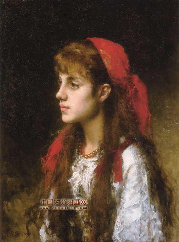 俄罗斯美女 古典人物油画 逸品油画艺术网 高清图片