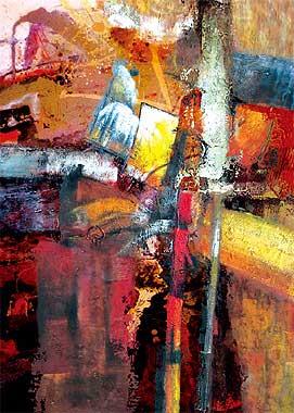 暖色调抽象油画--逸品油画艺术网